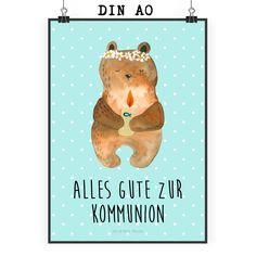 """Poster DIN A0 Kommunion-Bär aus Papier 160 Gramm  weiß - Das Original von Mr. & Mrs. Panda.  Jedes wunderschöne Poster aus dem Hause Mr. & Mrs. Panda ist mit Liebe handgezeichnet und entworfen. Wir liefern es sicher und schnell im Format DIN A0 zu dir nach Hause. Das Format ist 841 mm x 1189 mm.    Über unser Motiv Kommunion-Bär  Gottes Segen zur Kommunion - aus der """"Beary Times"""" - Kollektion.    Verwendete Materialien  Es handelt sich um sehr hochwertiges und edles Papier in der Stärke 160…"""