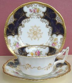 Coalport Blue Batwing Trio Plate Cup & Saucer No.1 c1900 | Coalport porcelain trio comprising a cup, saucer and teaplate, with printed and hand-coloured decoration and rich gilding. | eBay Sale £67.00