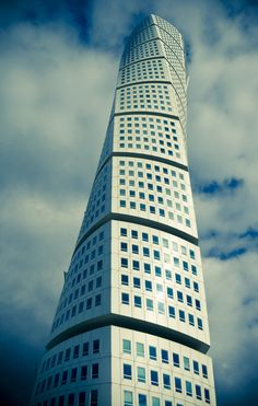 Turning Torso in Malmö, Sweden, 2005. 190 metres (623 feet) with 54 stories. Designed by Santiago Calatrava