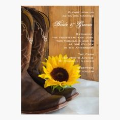 Country Sunflower Wedding Invitation. This elegant custom country chic wedding invite features a photograph of brown leather cowboy boots, yellow sunflower blossom and barn wood on white satin. Perfect for a casual yet classy shabby chic rural country farm, rustic barn, ranch or western wedding theme.