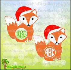 Cute Christmas Fox Monogram Base Design Design Cut File Clipart Digital Instant Download Jpeg Png SVG EPS DXF - pinned by pin4etsy.com