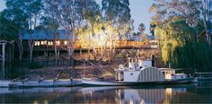 The restaurant is positioned high on the Murray River's bank, Victoria
