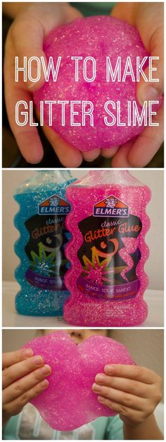 How to Make Glitter Slime with only 3 Ingredients. Easy recipe for homemade slime. Great craft for kids.