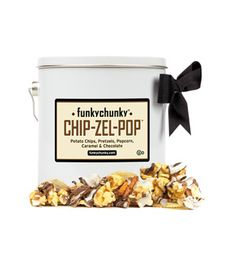 Chip-Zel Pop Pail: For the guy who lives for snacking, surprise him with this decadent power pack: clusters of potato chips, pretzels, and caramel popcorn drizzled with three types of chocolate and caramel on top.  (36 Unique Gifts for Dad)