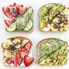Bruschetta Bar, Coconut Cream, Coconut Flakes, Healthy Recipes, Healthy Food, Avocado Toast, Strawberry, Vegetables, Breakfast