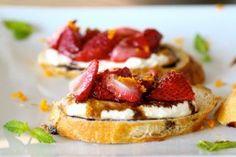 Appetizers » roasted strawberry and ricotta bruschetta
