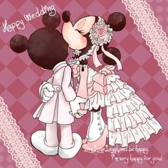 Happy Wedding by on deviantART wedding card Happy Wedding by on DeviantArt Mickey And Minnie Kissing, Minnie Mouse Pictures, Mickey Love, Mickey Mouse Art, Mickey Mouse Wallpaper, Mickey Mouse And Friends, Disney Pictures, Disney Wallpaper, Cute Disney