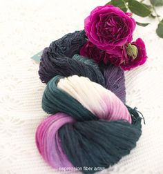 Beautiful LOTUS in Expression Fiber Arts yak silk lace weight yarn.... ultra-soft and shimmery and 680 whopping yards per skein! Whoa! Would make a lovely knitted or crocheted shawl or wrap.