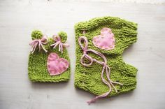 Baby Diaper Cover and hat set, Newborn Photography, Baby knit Bloomers, pink heart, Baby girl photography on Etsy, $38.00