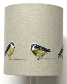 Lampshade - Blue tits perched on a wire. Freehand Machine Embroidery, Free Motion Embroidery, Free Machine Embroidery, Embroidery Applique, Embroidery Ideas, Handmade Lampshades, Bird Applique, Blue Tit, Fabric Birds