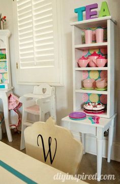 Adorable Play Kitchen Hutches and Play Table Makeover from Thrift Store Finds and Garage Sale Finds