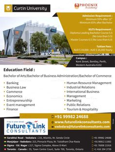 Looking for a destination for further #studies? #Choose #Australia! #Study at Curtin University, Australia and make your #career perfect! To apply, visit www.futurelinkconsultants.com or Call +91 9998224688.  #FutureLinkConsultants #StudyInAustralia Colleges In Australia, Toronto, Kent Street, Bachelor Of Arts, Visa, Ielts, Western Australia, Coaching