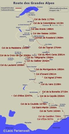 Carte Route des Grandes Alpes - Map of the Route of the Grand .- Carte des Route des Grandes Alpes – Map of the route of the great Alps – - Road Trip France, Road Trip Europe, Road Trip Moto, La Route Napoleon, Rando Velo, Grande Route, Bike Poster, European Tour, Touring