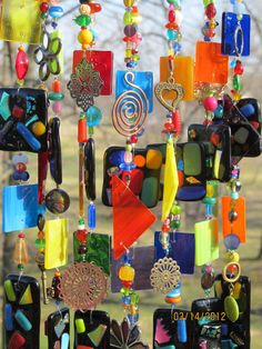 Colorful Fused Glass Stained Glass Art Wind  Chime. $85.00, via Etsy.