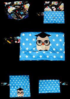 pochette trousse de sac brodée chouette ( personnalisable ) de la boutique babanou84 sur Etsy