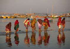 Pilgrims Bathing In Ganges, 'Maha Kumbh Mela', Allahabad, Uttar Pradesh, India
