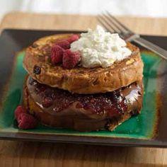 Raspberry Jam & Hazelnut Spread Stuffed #Panettone French Toast
