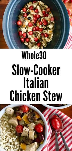 This easy, healthy Italian chicken stew is made in your crockpot, making dinner planning and meal prep so easy! It's full of juicy chicken, colorful vegetables and topped with fresh cherry tomatoes for a burst of flavor. It's gluten-free, dairy-free, low carb, Whole30, Paleo and keto! It's great on its own or served with cauliflower rice. This slow-cooker stew will become a family favorite! Slow Cooker Chicken Potatoes, Seasoned Potatoes, Paleo Crockpot Recipes, Slow Cooker Recipes, Traditional Italian Dishes, Dairy Free, Gluten Free, Fresh Cherry, Colorful Vegetables