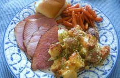 Jolene's Recipe Journal: Our Easter meal- Ham with Orange and Brown Sugar glaze, Rustic twice baked potato casserole and Vanilla Glazed Baby Carrots