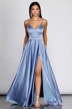 Devon Tulle A-Line Dress – Windsor Pretty Prom Dresses, Prom Dresses Blue, Dance Dresses, Elegant Dresses, Cute Dresses, Beautiful Dresses, Satin Dresses, Windsor Dresses Prom, Simple Prom Dress