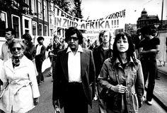 Anti-apartheid activist Conny Braam during a demonstration against South Africa in The Netherlands during the 1970's. Photo: Conny Braam, courtesy of Have You Heard From Johannesburg (www.clarityfilms.org)