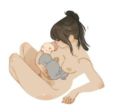 I LOVE this illustration of a mama and new baby by Annette Marnat. I want it in…