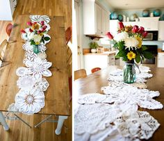 DIY table runner or tablecloth made from crocheted dollies