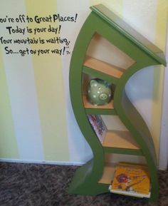 4ft Curved Shelf Green by WoodCurve on Etsy.com.  Before I could read the quote, I was already thinking Dr. Seuss.