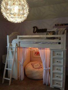 Sheryl Kennedy Meyer ~ Tween Bedroom: Bedding - RH Kids & PB Kids, Curtains - PB Kids, Light - (MASKROS pendant) & chair - IKEA, furry bean bag - Pier 1 Imports, Wall Art - Home Goods & Hobby Lobby. Tori likes lights Dream Rooms, Dream Bedroom, Warm Bedroom, Bedroom Small, Bedroom Bed, Bedroom Lamps, Light Bedroom, Bedroom Table, Bedroom Stuff