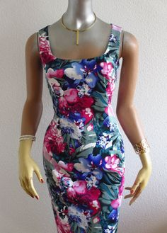 ♦♦ by Siréna-Création on Etsy Square Necklines, Pencil Dress, Magenta, Blue Green, Creations, Floral Prints, Glamour, Etsy, Dresses