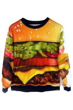 ROMWE | Hamburger Print Sweatshirt, The Latest Street Fashion