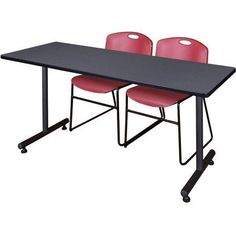 Kobe 66 inch x 24 inch Grey Training Table and 2 Zeng Stack Chairs, Multiple Colors, Brown