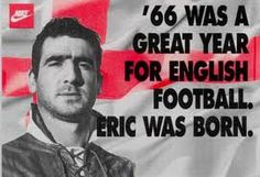 "Éric Daniel Pierre Cantona (born May is a French former footballer of the He ended his professional footballing career at Manchester United where he won four Premiership titles in five years, including two league and FA Cup ""doubles"". Eric Cantona, Manchester United Legends, Manchester United Players, Messi, Real Madrid, Nike Ad, Sir Alex Ferguson, Association Football, Sports Marketing"