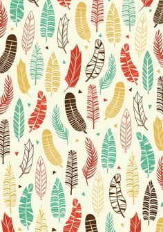 Falling Feathers Art Print by Claire Lordon Design Textile, Design Floral, Textile Patterns, Diy Design, Textiles, Boho Pattern, Feather Pattern, Pretty Patterns, Beautiful Patterns