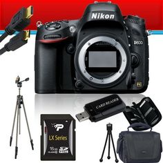Nikon D600 Digital Camera (Body Only) 16GB Package 2 by Nikon. $2049.39. Package Contents:  1- Nikon D600 Digital Camera (Body Only) New USA w/ Supplied Manufacturer Accessories 1- 16GB SDHC Class 10 Memory Card 1- USB Memory Card Reader  1- Weather Resistant Carrying Case w/Strap  1- Pack of LCD Screen Protectors  1- Camera & Lens Cleaning Kit System  1- Mini Flexible Table Top Tripod 1- Memory Card Wallet 1- Mini HDMI to HDMI Cable 1- Professional Full Size Tripod