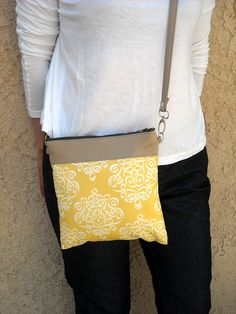 Ribbon Damask in Yellow - Hands-free Style Messenger Bag ( Removable strap). $35.00, via Etsy.