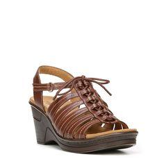Natural Soul Women's Ronnie Medium/Wide Wedge Sandals (Dark Brown) - 10.0 M
