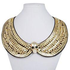 Gold Skull Peter Pan Collar