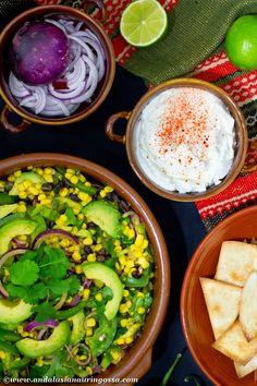 Mexican avocado, corn and black bean salad