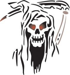 This type of fire pit skulls is an unquestionably inspiring and perfect idea Grim Reaper Art, Grim Reaper Tattoo, Skull Stencil, Skull Art, Skull Logo, Halloween Pictures, Halloween Art, Evil Skull Tattoo, Wood Craft Patterns
