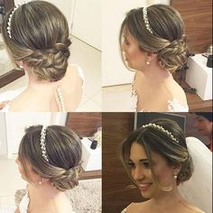 wedding hairstyles with headband Lindo Janaina Mendes via dresses_gowns_fashion dresses_gowns_fashion dresses_gowns_fashion Wedding Tiara Hairstyles, Hairdo Wedding, Bridal Hair Updo, Wedding Hair And Makeup, Bride Hairstyles, Wedding Hair Accessories, Headband Hairstyles, Hair Makeup, Updo With Headband