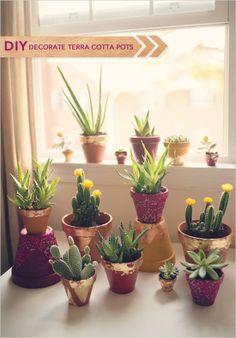 Decorate Terra Cotta Pots for wedding centerpieces