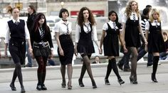 St Trinians naughty schoolgirls in full vamp mode St Trinians, Talulah Riley, Cherbourg, Sailor Outfits, Stockings And Suspenders, Geek Fashion, Fashion Outfits, S Girls, School Outfits