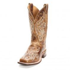 Justin Bent Rail Women's Square Toe Tan Scroll Cowgirl Boots