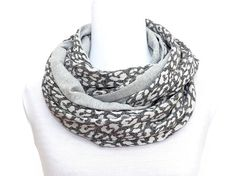 Jersey Infinity scarf, plain solid and animal print, wool cotton, snood,  light dark mottled gray, leopard reversible, patchwork, womens 41e93555668