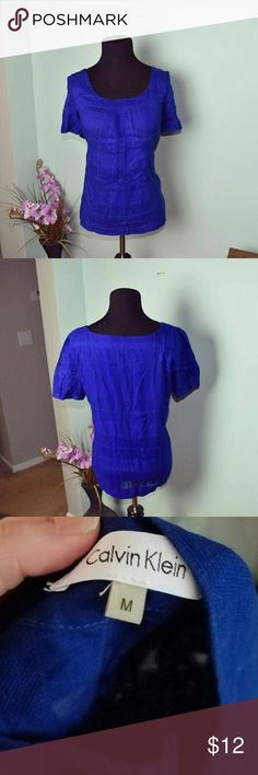Calvin Klein Royal Blue Blouse In excellent condition. Just a little wrinkly but will iron before shipping. Beautifully made and very flattering! Calvin Klein Tops Blouses