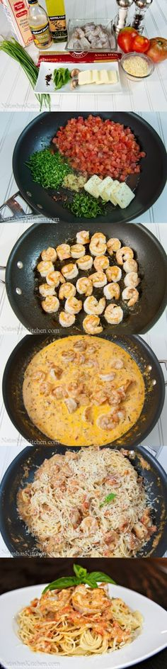Ingredients:   1 lb medium raw shrimp, shell removed  ¾ lb spaghetti or angel hair pasta  1 tablespoon olive oil  6 medium tomatoes, dice...