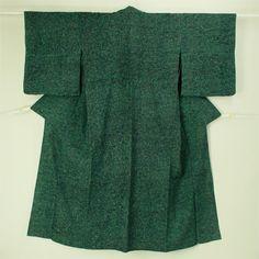 Deep green, hitoe komon kimono / 緑地 黒の抽象柄 単衣小紋