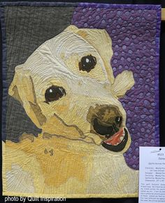 Daisy by Mandy Fleig. Photo by Quilt Inspiration: 2019 SCVQA: Quilts Celebrating Creativity ! part 1 International Quilt Festival, Dog Quilts, Yosemite Falls, Landscape Quilts, Thread Painting, Hand Applique, English Paper Piecing, Quilt Patterns Free, Quilt Making