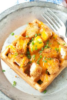 A homemade waffle topped with chicken and melty cheese is maybe the ultimate in breakfast for dinner.